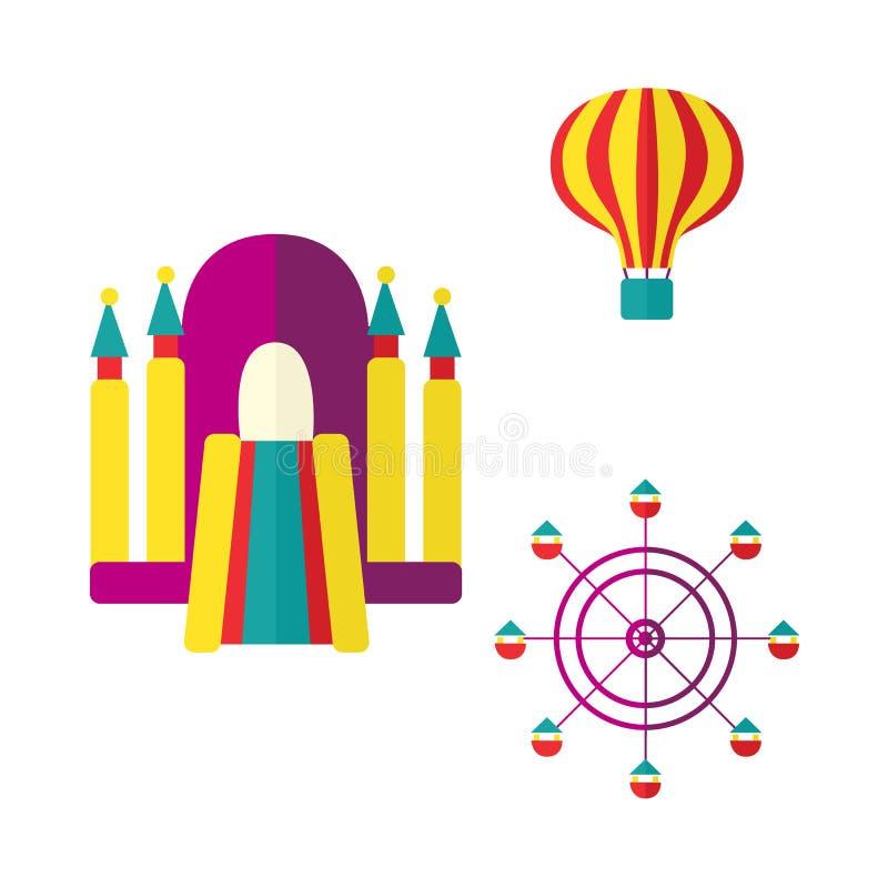 Ballon, bouncykasteel en de reeks van het Reuzenradpictogram royalty-vrije illustratie