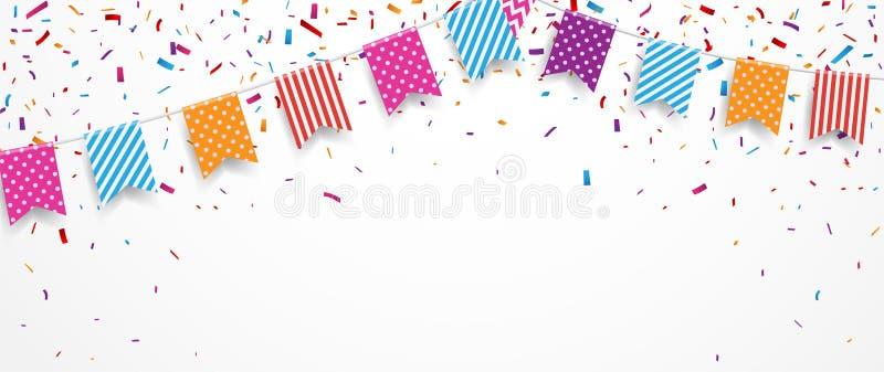 Ballon coloré d'anniversaire avec des drapeaux et des confettis d'étamine illustration stock