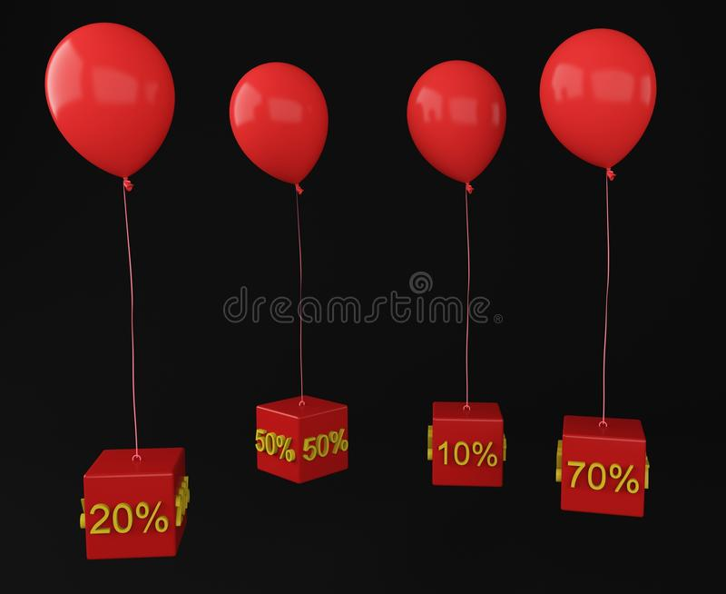 Ballon with cube interest. 3d vector illustration