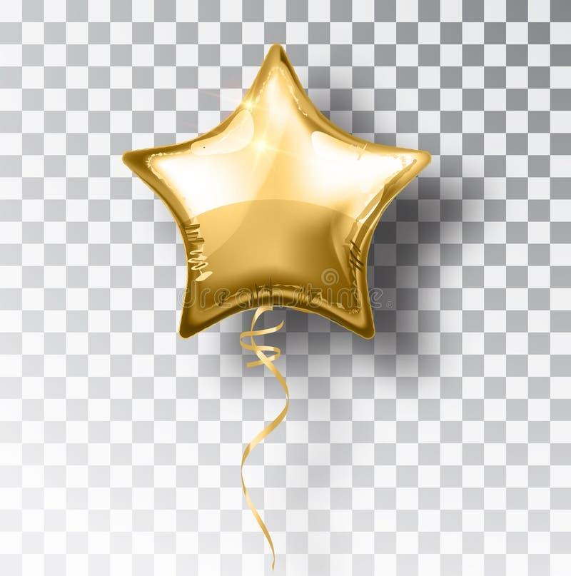 Ballon d'or d'étoile sur le fond transparent Décoration de conception d'événement de ballons d'hélium de partie Air de ballons illustration stock