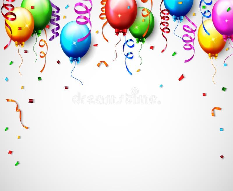 Ballon d'anniversaire avec le fond de confettis illustration de vecteur