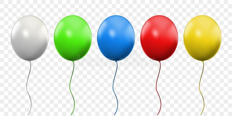 Ballon 3D vector realistisch geïsoleerd op transparante achtergrond De kleurrijke impulsen van de verjaardagspartij met draden royalty-vrije illustratie