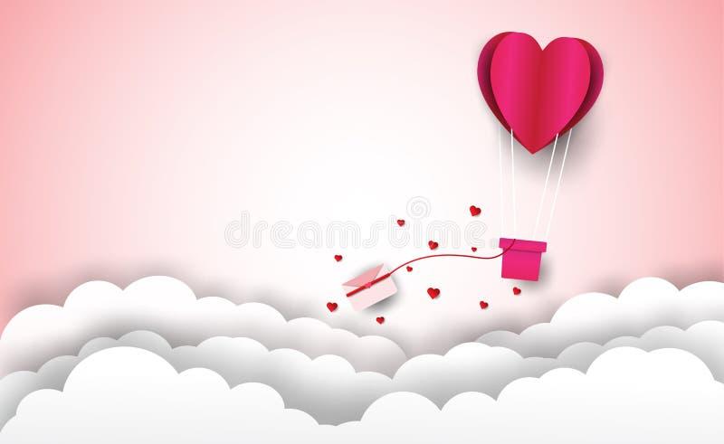 Ballon de coeur avec nuages de lettres et de rose de Saint-Valentin fond et photos stock