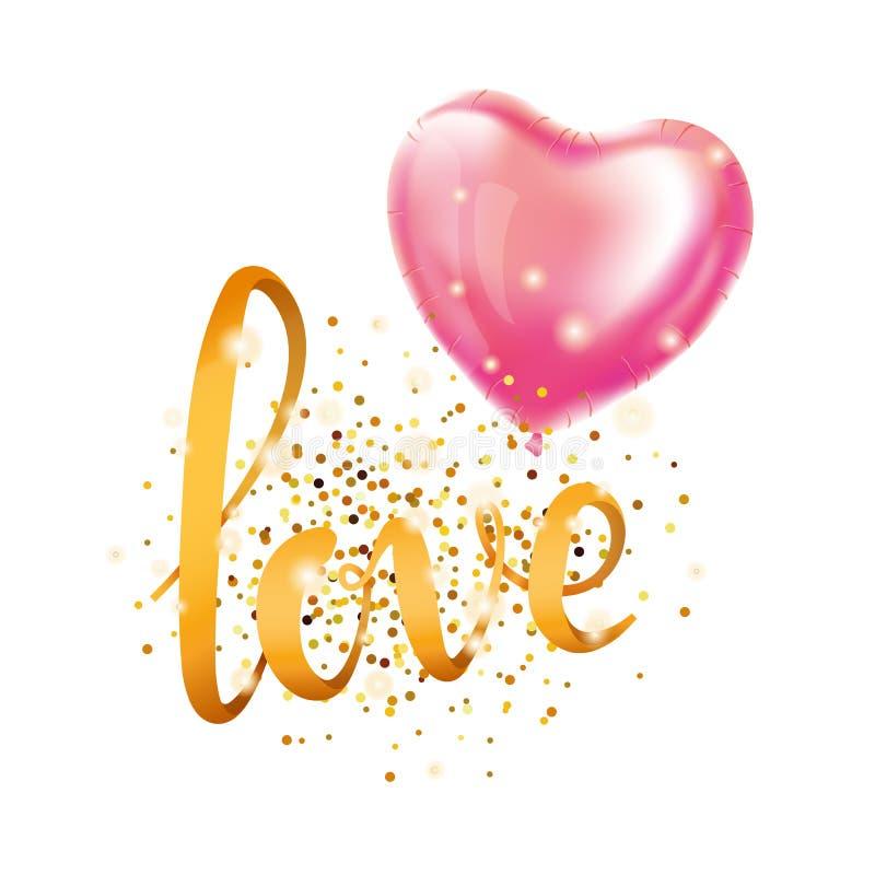 Ballon de coeur de lettre d'or d'amour illustration de vecteur