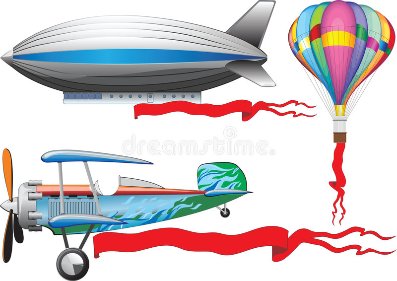 ballon de dirigeable d'avion vieux illustration de vecteur