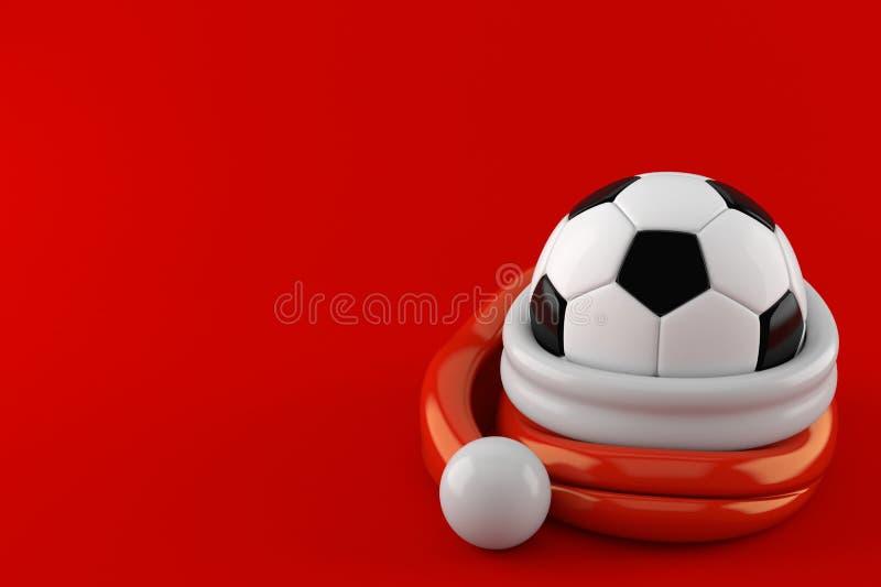 Ballon de football à l'intérieur de chapeau de Santa illustration de vecteur