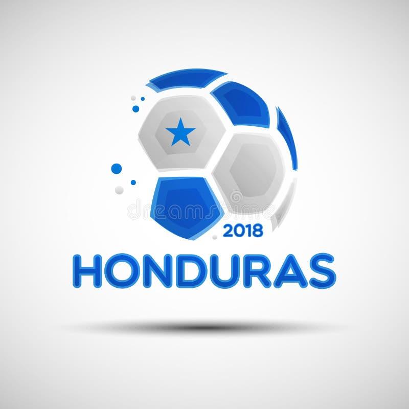 Ballon de football abstrait avec des couleurs honduriennes de drapeau national illustration stock