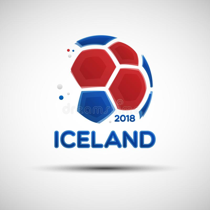 Ballon de football abstrait avec des couleurs islandaises de drapeau national illustration de vecteur