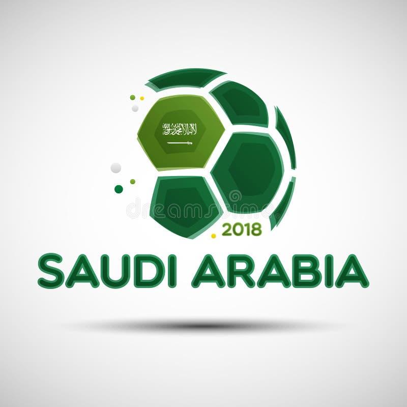 Ballon de football abstrait avec des couleurs saoudiennes de drapeau national illustration libre de droits