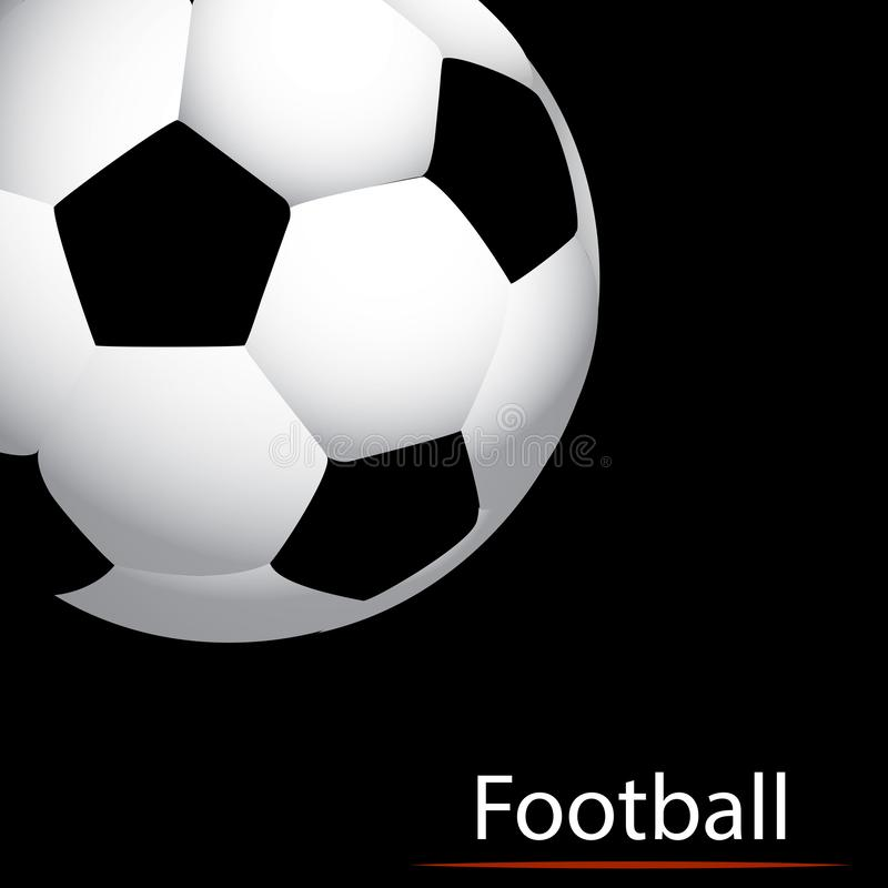 Ballon de football abstrait sur un fond noir illustration libre de droits