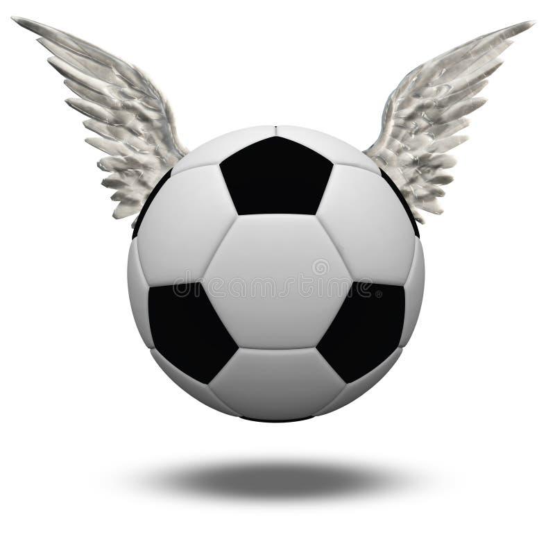 Ballon de football avec des ailes illustration stock