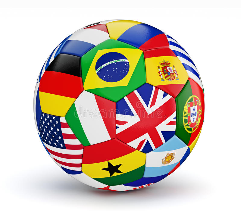 Ballon de football avec des drapeaux de pays du monde d'isolement illustration de vecteur