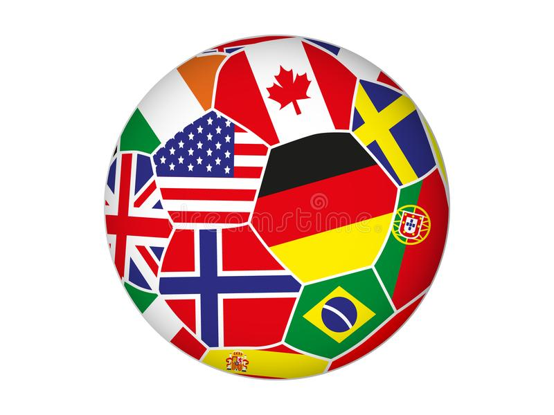 Ballon de football avec des drapeaux de différents pays sur le fond blanc illustration libre de droits