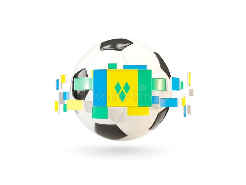 Ballon de football avec la ligne des drapeaux Drapeau de saint vincent et du GR illustration stock