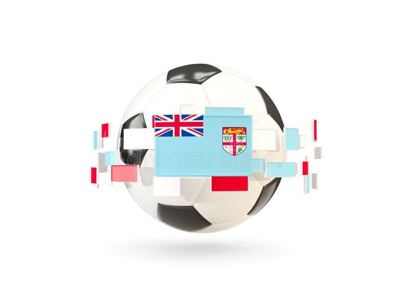Ballon de football avec la ligne des drapeaux Indicateur du Fiji illustration de vecteur