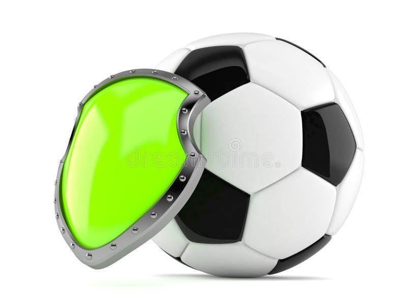 Ballon de football avec le bouclier illustration de vecteur