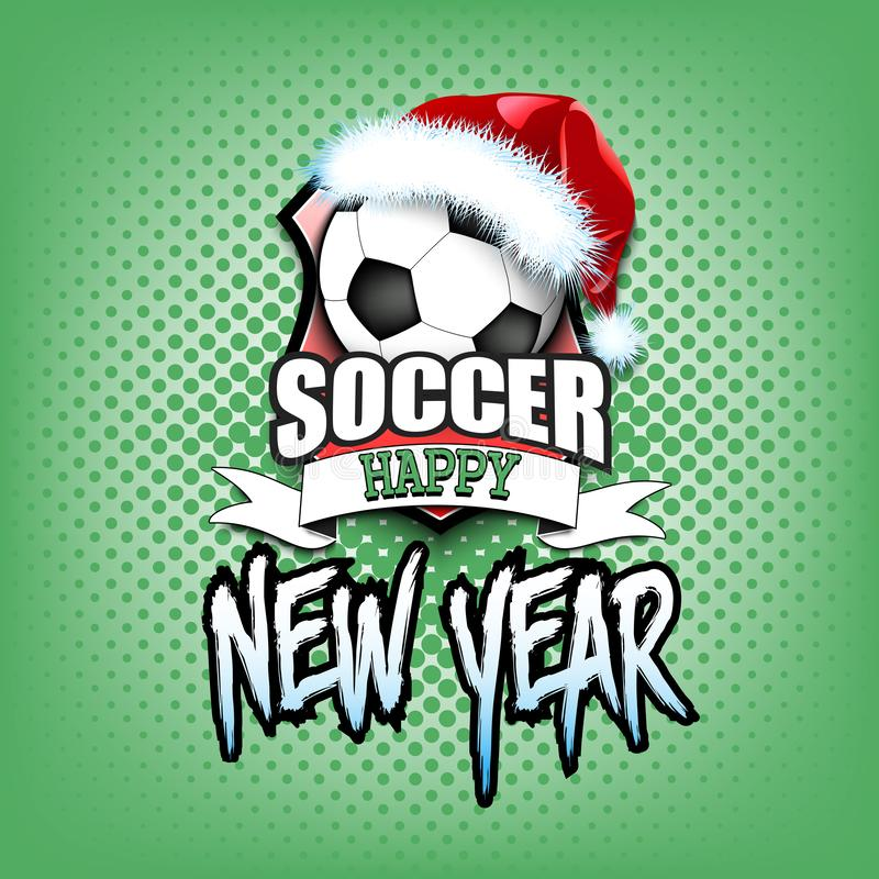 Ballon de football avec le chapeau et la bonne année de Santa illustration de vecteur