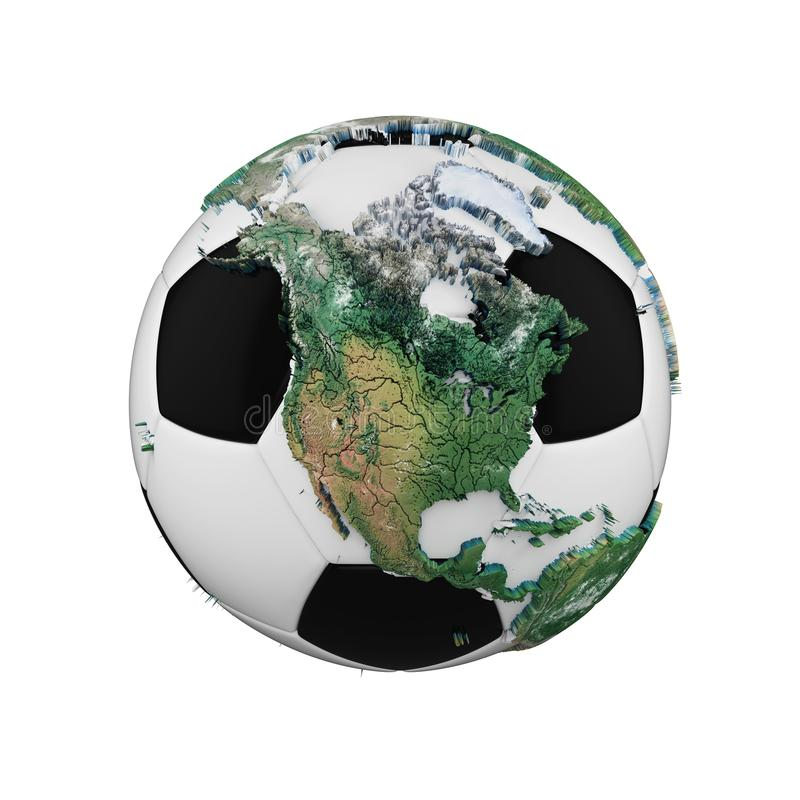 Ballon de football avec le concept de globe de la terre de planète d'isolement sur le fond blanc Boule du football avec les conti illustration stock