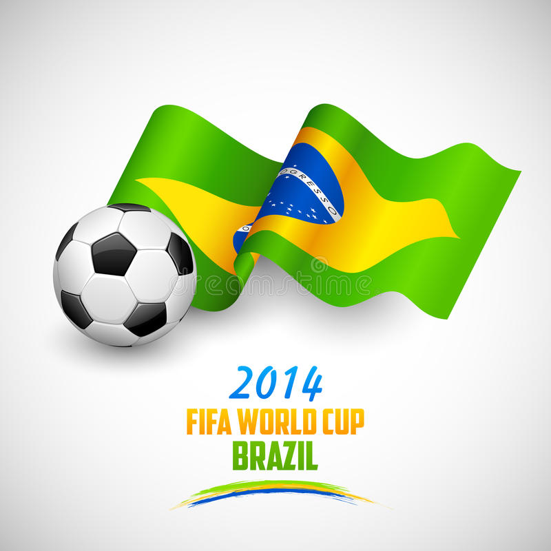 Ballon de football avec le drapeau brésilien illustration stock
