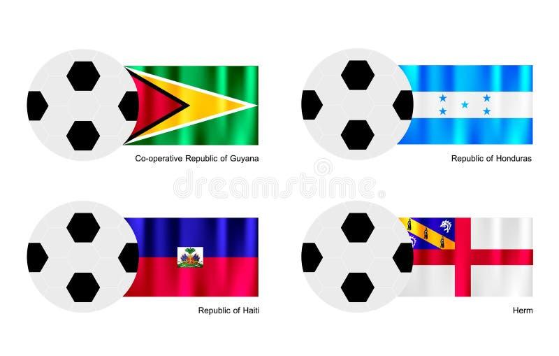 Ballon de football avec le drapeau de la Guyane, du Honduras, du Haïti et du Herm illustration stock