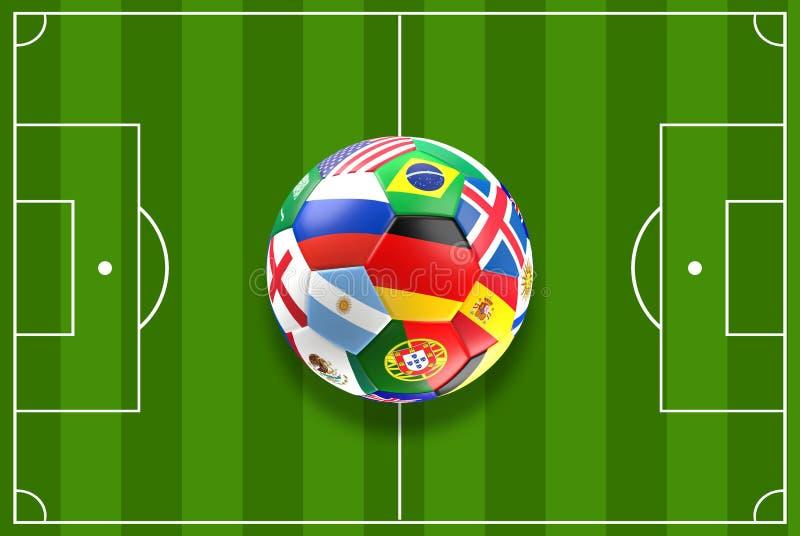 Ballon de football avec le drapeau et d'autres de la Russie rendu 3d illustration stock