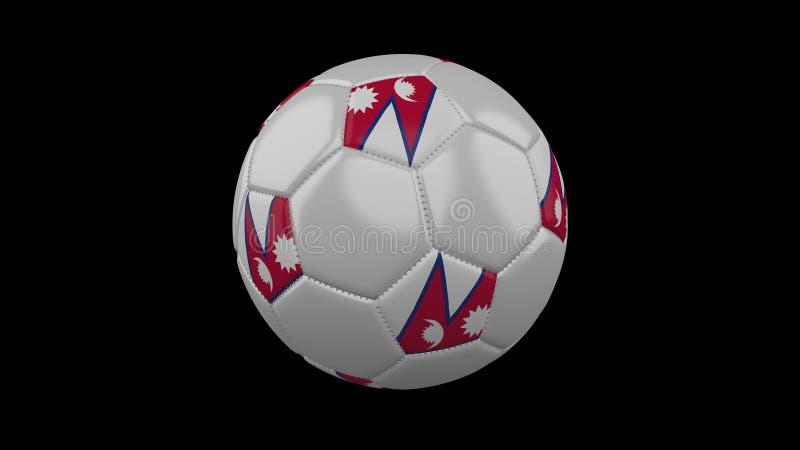 Ballon de football avec le drapeau Népal, rendu 3d illustration stock