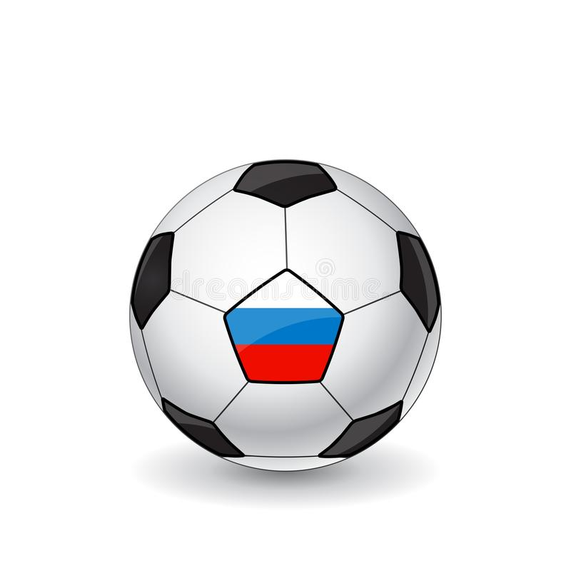Ballon de football avec le drapeau russe illustration libre de droits