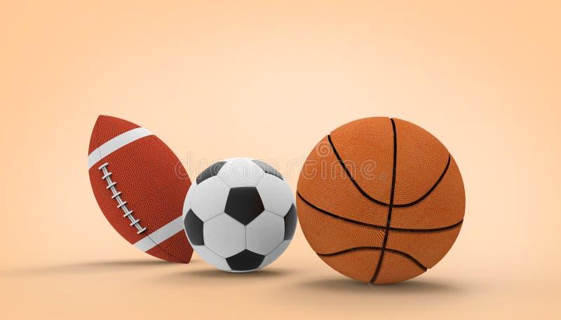 Ballon de football, basket-ball, sports de football américain sur le fond orange de couleur illustration stock