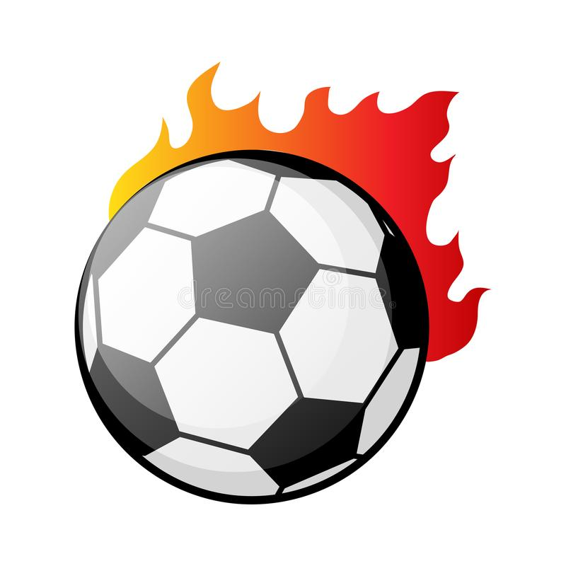 Ballon de football brûlant dans l'illustration de vecteur de flammes illustration de vecteur