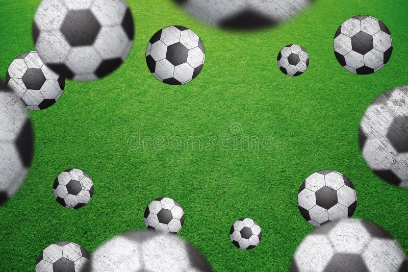 Ballon de football brouillé par grunge avec le fond de l'espace de copie illustration stock