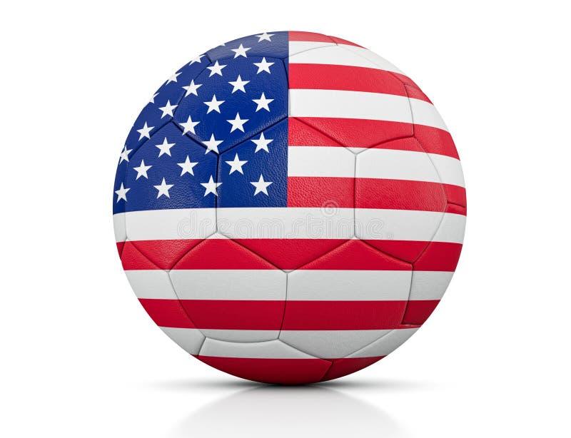 Ballon de football, ballon de football classique peint avec les couleurs du drapeau des Etats-Unis et texture en cuir apparente d illustration libre de droits