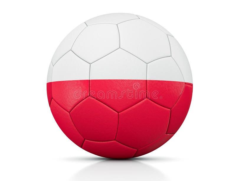 Ballon de football, ballon de football classique peint avec les couleurs du drapeau de la Pologne et texture en cuir apparente da illustration libre de droits