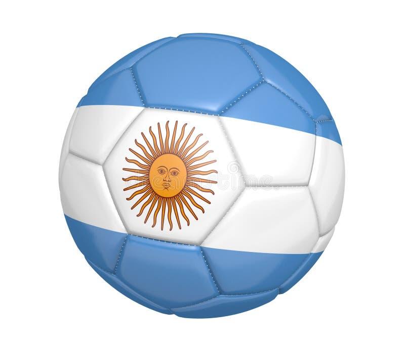 Ballon de football d'isolement, ou football, avec le drapeau de pays de l'Argentine illustration libre de droits
