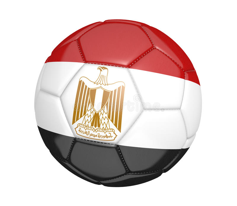 Ballon de football d'isolement, ou football, avec le drapeau de pays de l'Egypte, rendu 3D illustration libre de droits