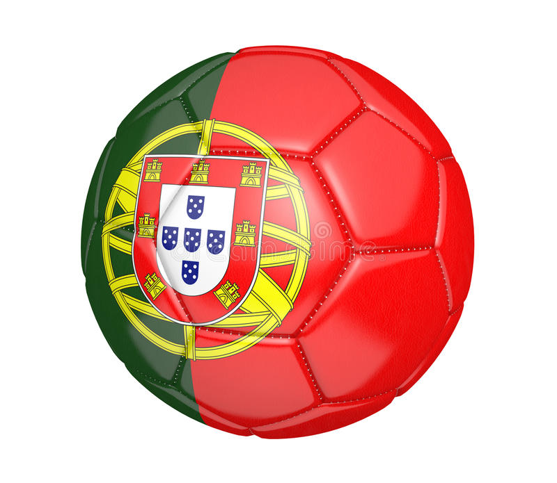 Ballon de football d'isolement, ou football, avec le drapeau de pays du Portugal illustration de vecteur
