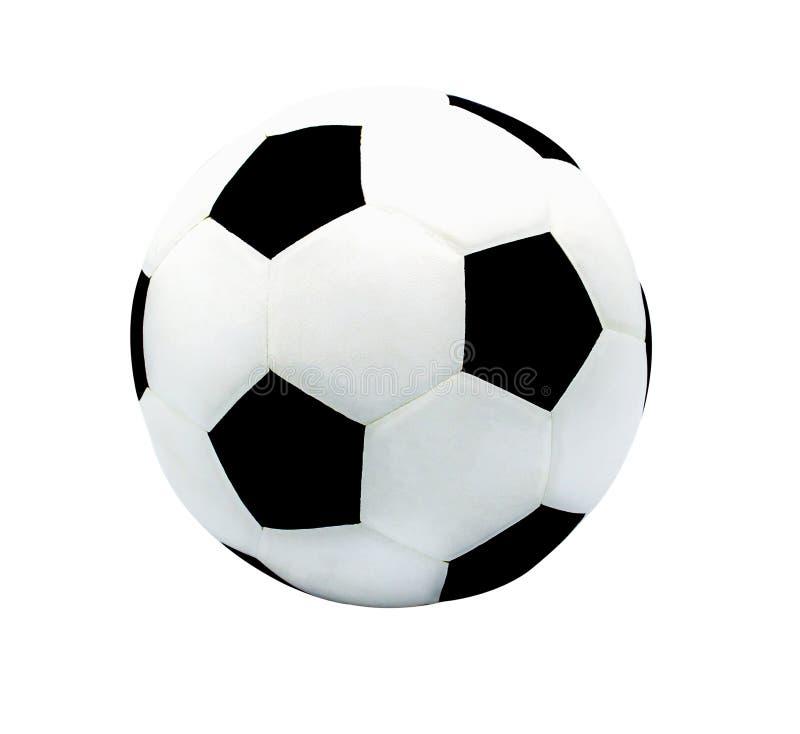 Ballon de football d'isolement sur le blanc avec le chemin de coupure photographie stock libre de droits