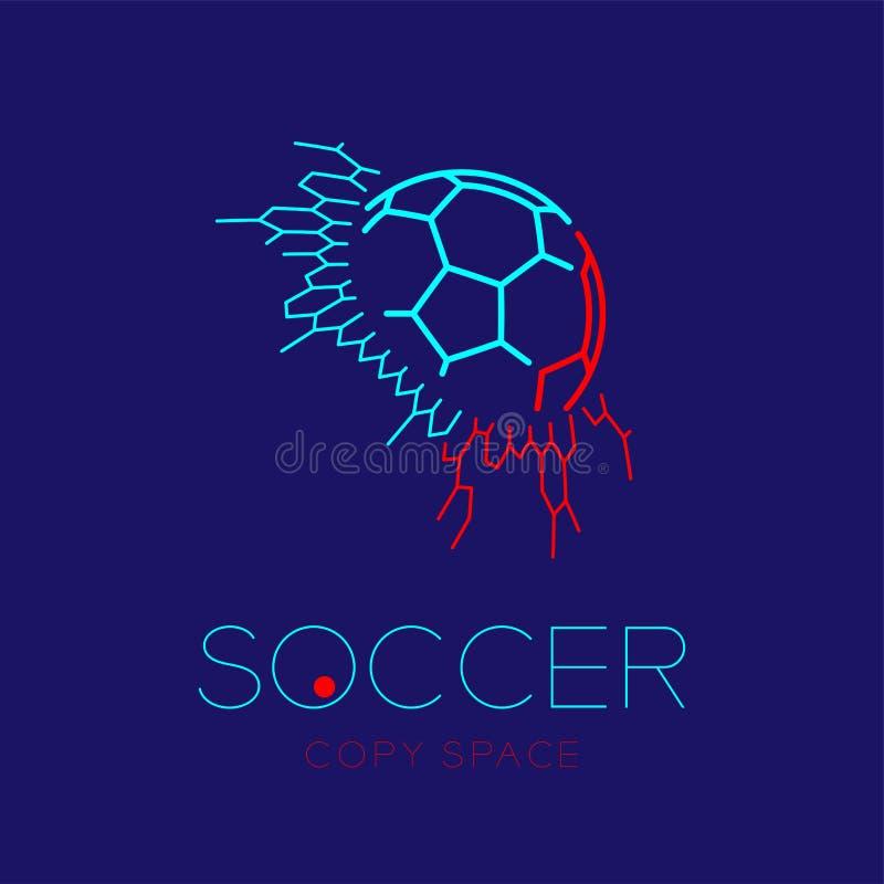 Ballon de football dans la ligne réglée illustration de tiret de course d'ensemble d'icône de logo de but de conception illustration de vecteur