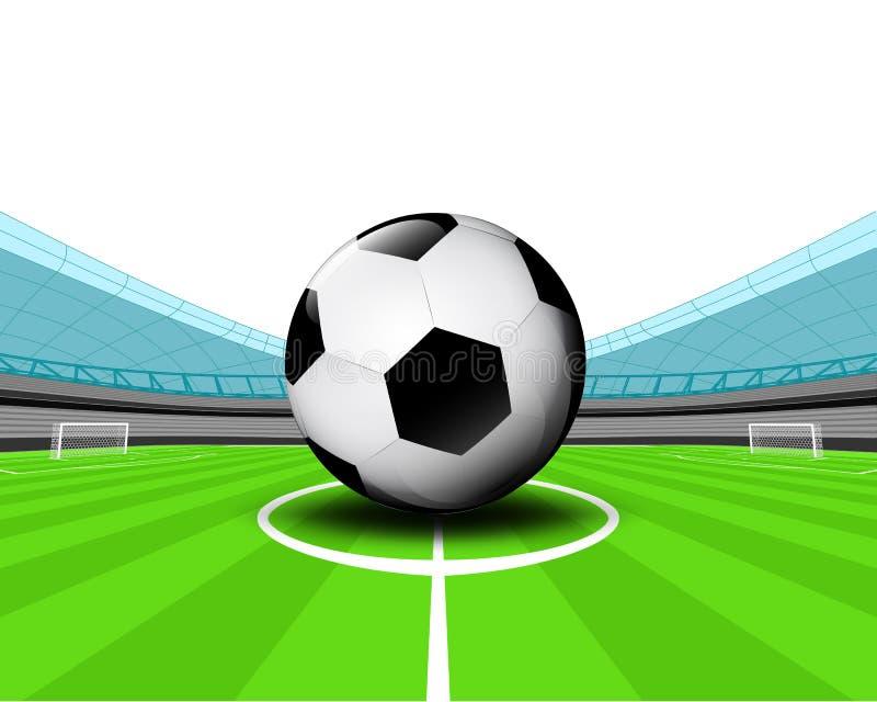 Ballon de football dans la zone centrale du vecteur de stade de football illustration libre de droits