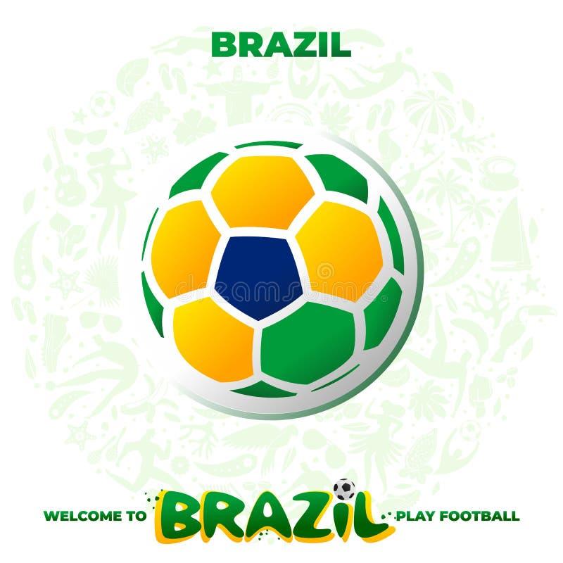 Ballon de football dans les couleurs du drapeau national illustration stock