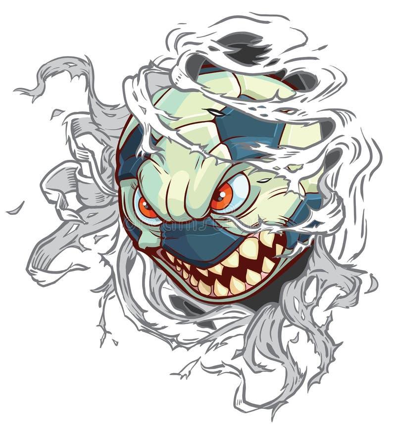 Ballon de football de monstre de bande dessinée de vecteur déchirant le fond illustration de vecteur