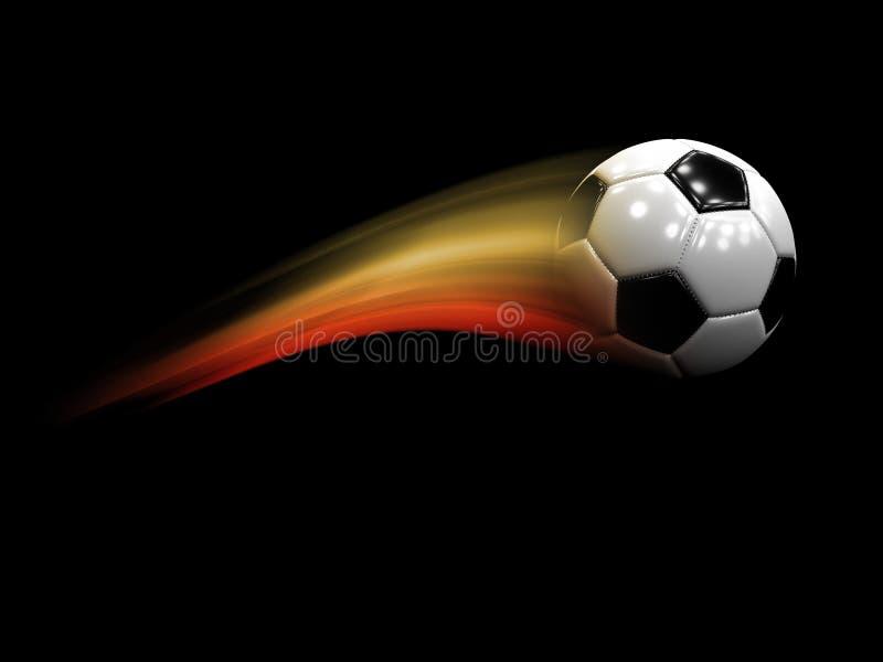 Ballon de football de vol avec la queue colorée illustration stock