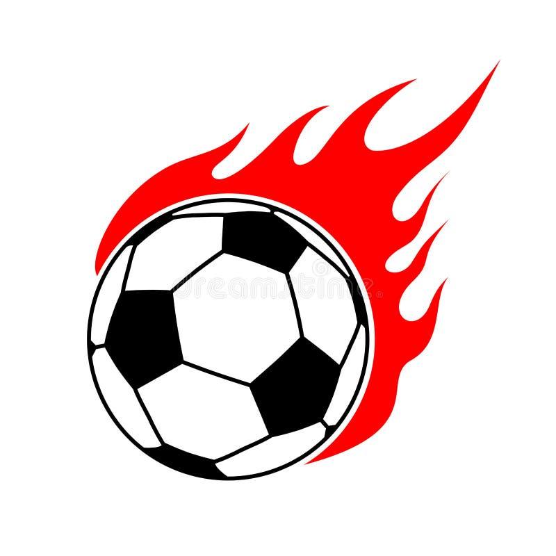 Ballon de football du feu Le football de flamme Équipe de sport de jeu d'emblème illustration stock