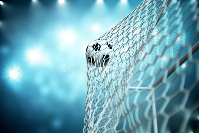 ballon de football du rendu 3d dans le but Ballon de football dans le filet avec le fond clair de projecteur et de stade, concept illustration stock