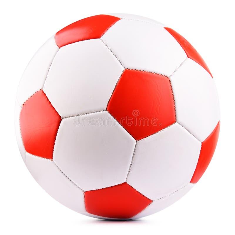 Ballon de football en cuir d'isolement sur le fond blanc image libre de droits