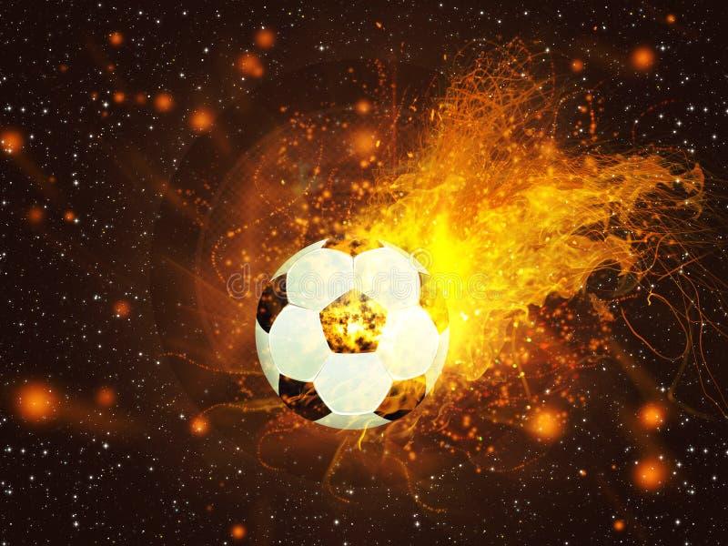 Ballon de football en feu illustration stock