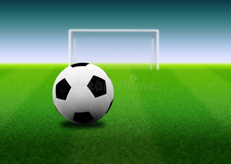 Ballon de football et but sur le champ illustration stock