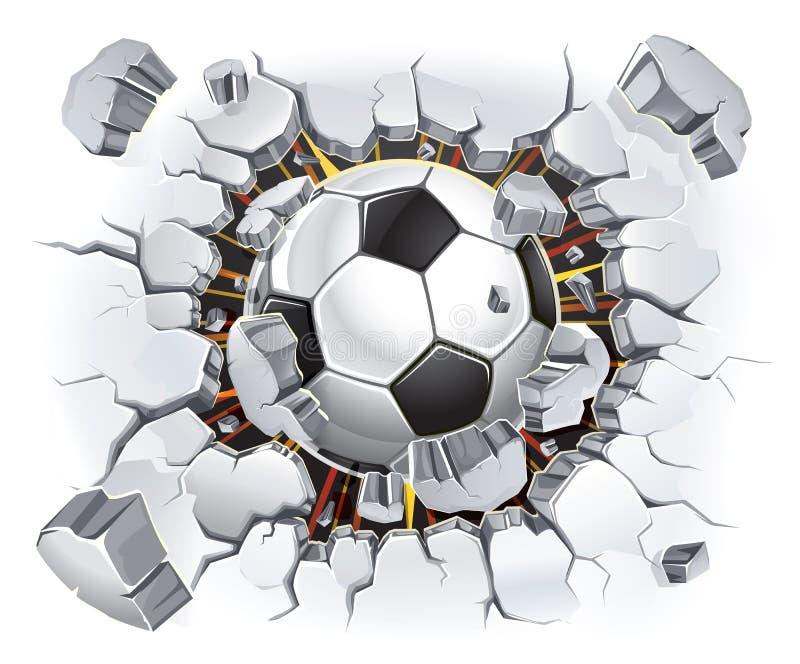 Ballon de football et vieux dommages de mur de plâtre. illustration de vecteur