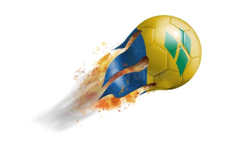 Ballon de football flamboyant volant avec le saint Vincent And The Grenadines illustration libre de droits