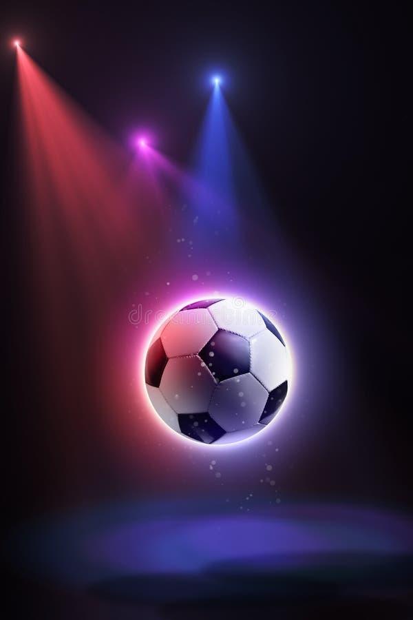 Ballon de football, flottant dans l'espace et illuminé par les rayons sur un fond abstrait image stock