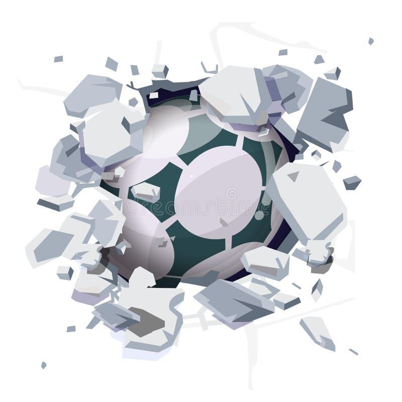 Ballon de football frappant le mur puis cassé - illustration libre de droits